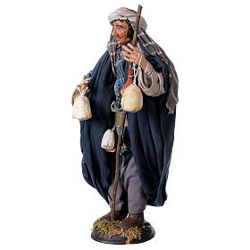 Shepherd with Caciotta for Neapolitan nativity style 700s of 30 cm s3