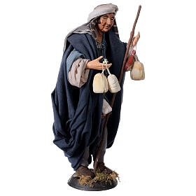 Shepherd with Caciotta for Neapolitan nativity style 700s of 30 cm s4