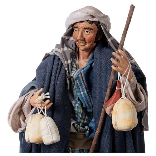 Shepherd with Caciotta for Neapolitan nativity style 700s of 30 cm 2