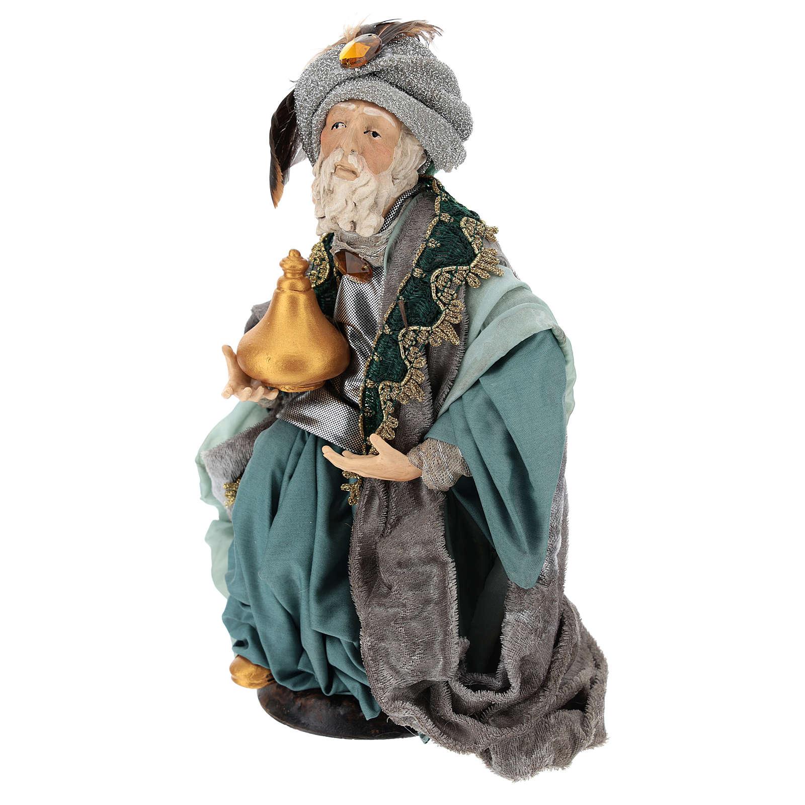 Rey mago sentado para belén napolitano estilo 700 de 30 cm de altura media 4