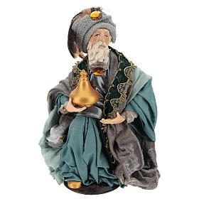 Rey mago sentado para belén napolitano estilo 700 de 30 cm de altura media s1