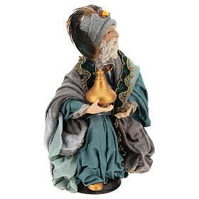 Rey mago sentado para belén napolitano estilo 700 de 30 cm de altura media s4