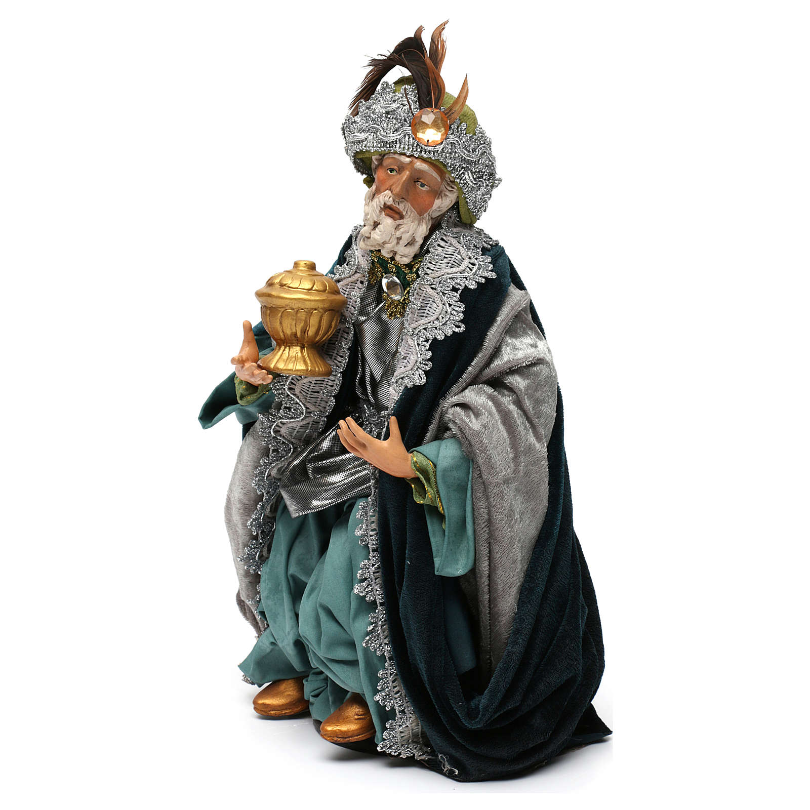 Re magio seduto per presepe napoletano stile 700 di 35 cm 4