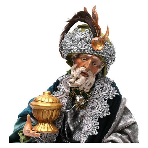 Re magio seduto per presepe napoletano stile 700 di 35 cm 2