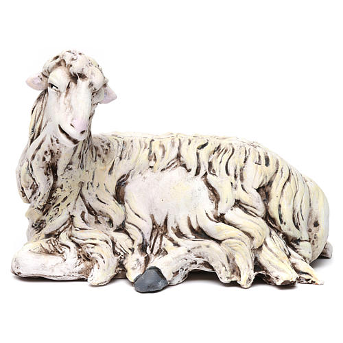 White Sheep looking left in terracotta for Neapolitan nativity style 700s of 35 cm 1