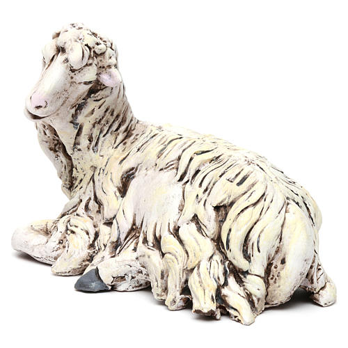 White Sheep looking left in terracotta for Neapolitan nativity style 700s of 35 cm 2