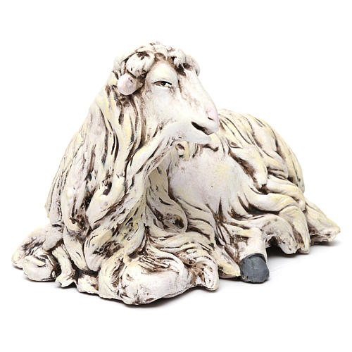 White Sheep looking left in terracotta for Neapolitan nativity style 700s of 35 cm 3