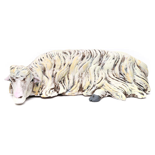 Pecora sdraiata in terracotta per presepe Napoli stile '700 di 35 cm 1
