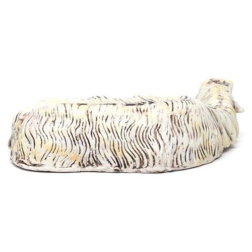 Pecora sdraiata in terracotta per presepe Napoli stile '700 di 35 cm 4