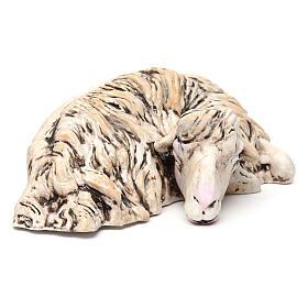 Pecorella sdraiata rivolta a destra per il presepe Napoli stile 700 di 35 cm s3