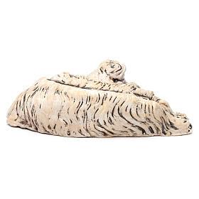 Pecorella sdraiata rivolta a destra per il presepe Napoli stile 700 di 35 cm s4