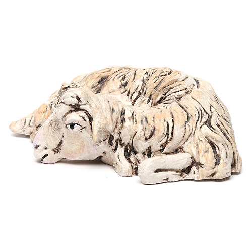 Pecorella sdraiata rivolta a destra per il presepe Napoli stile 700 di 35 cm 2