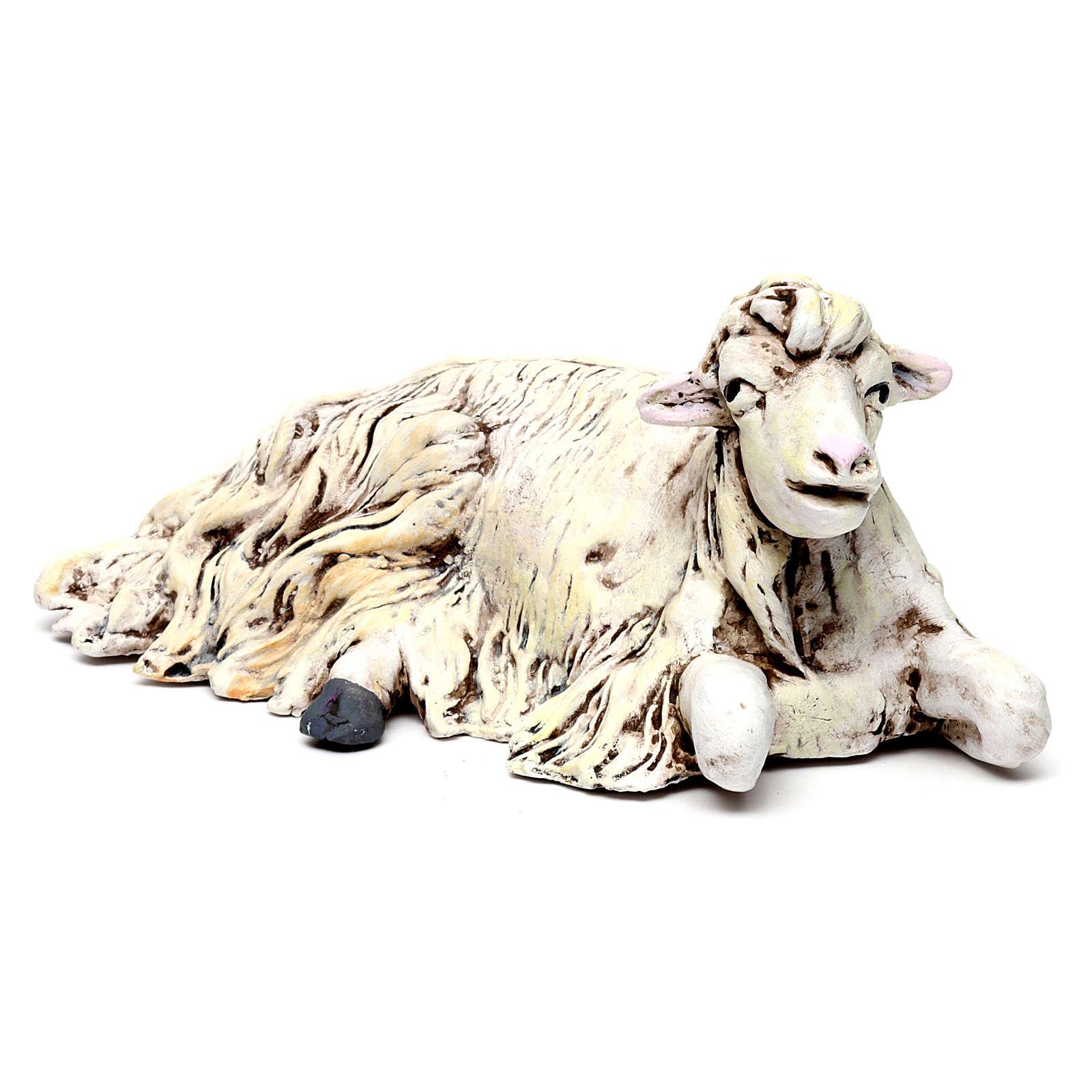 Mouton agenouillée tourné vers la droite pour crèche Naples style 1700 35 cm 4
