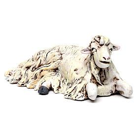 Mouton agenouillée tourné vers la droite pour crèche Naples style 1700 35 cm s2