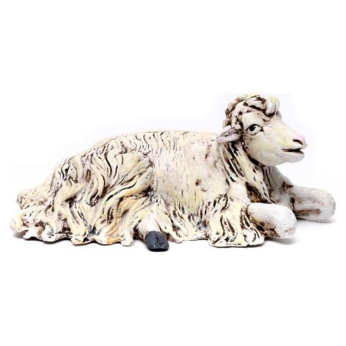 Mouton agenouillée tourné vers la droite pour crèche Naples style 1700 35 cm 1