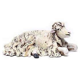 Pecora inginocchiata rivolta a destra per presepe Napoli stile 700 di 35 cm s1