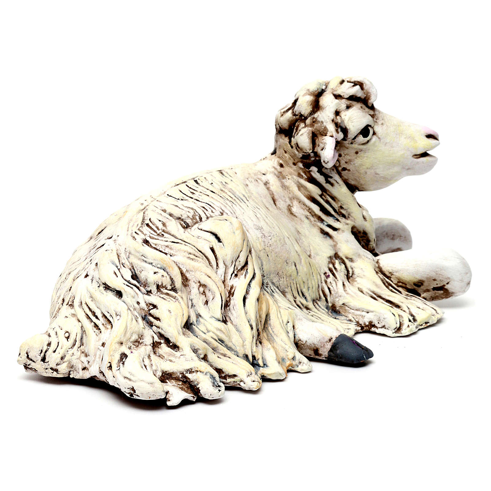 Sheep kneeling looking right for Neapolitan nativity style 700s of 35 cm 4