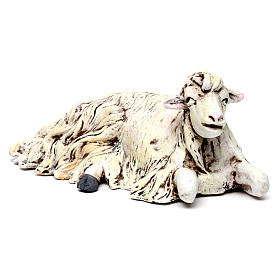 Sheep kneeling looking right for Neapolitan nativity style 700s of 35 cm s2