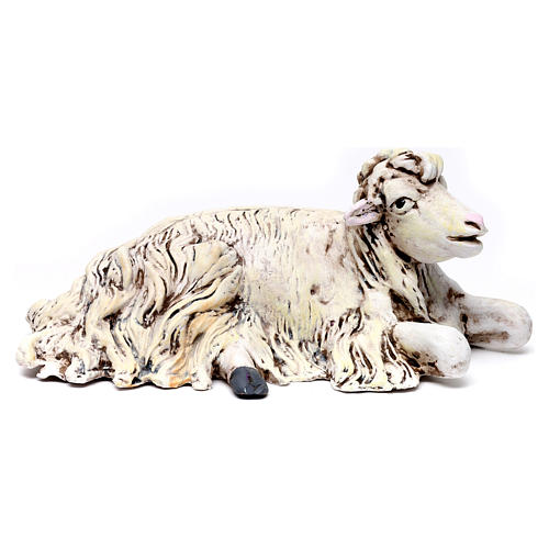 Sheep kneeling looking right for Neapolitan nativity style 700s of 35 cm 1
