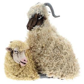 Macho cabrío con oveja para belén napolitano estilo 700 de 35 cm de altura media s1