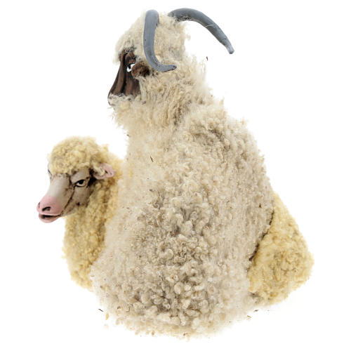 Bouc avec mouton pour crèche Naples style 1700  35 cm 3