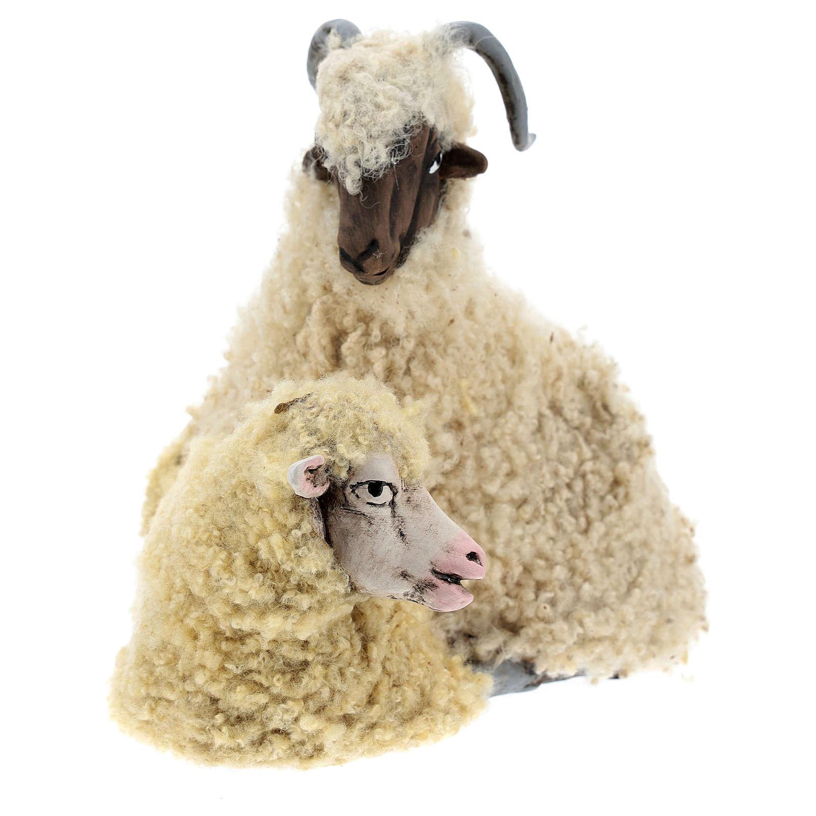 Caprone con pecorella per presepe napoletano stile '700 di 35 cm 4