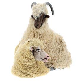 Caprone con pecorella per presepe napoletano stile '700 di 35 cm s2