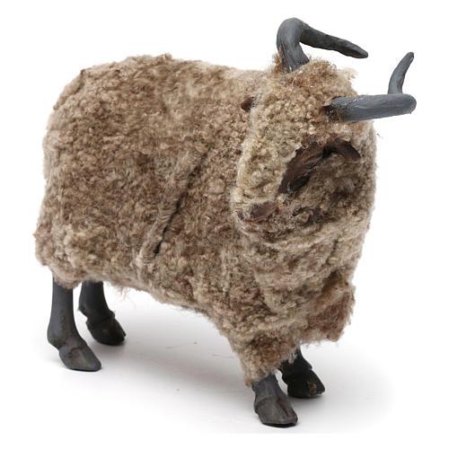 Caprone con lana per presepe napoletano stile '700 di 35 cm 2