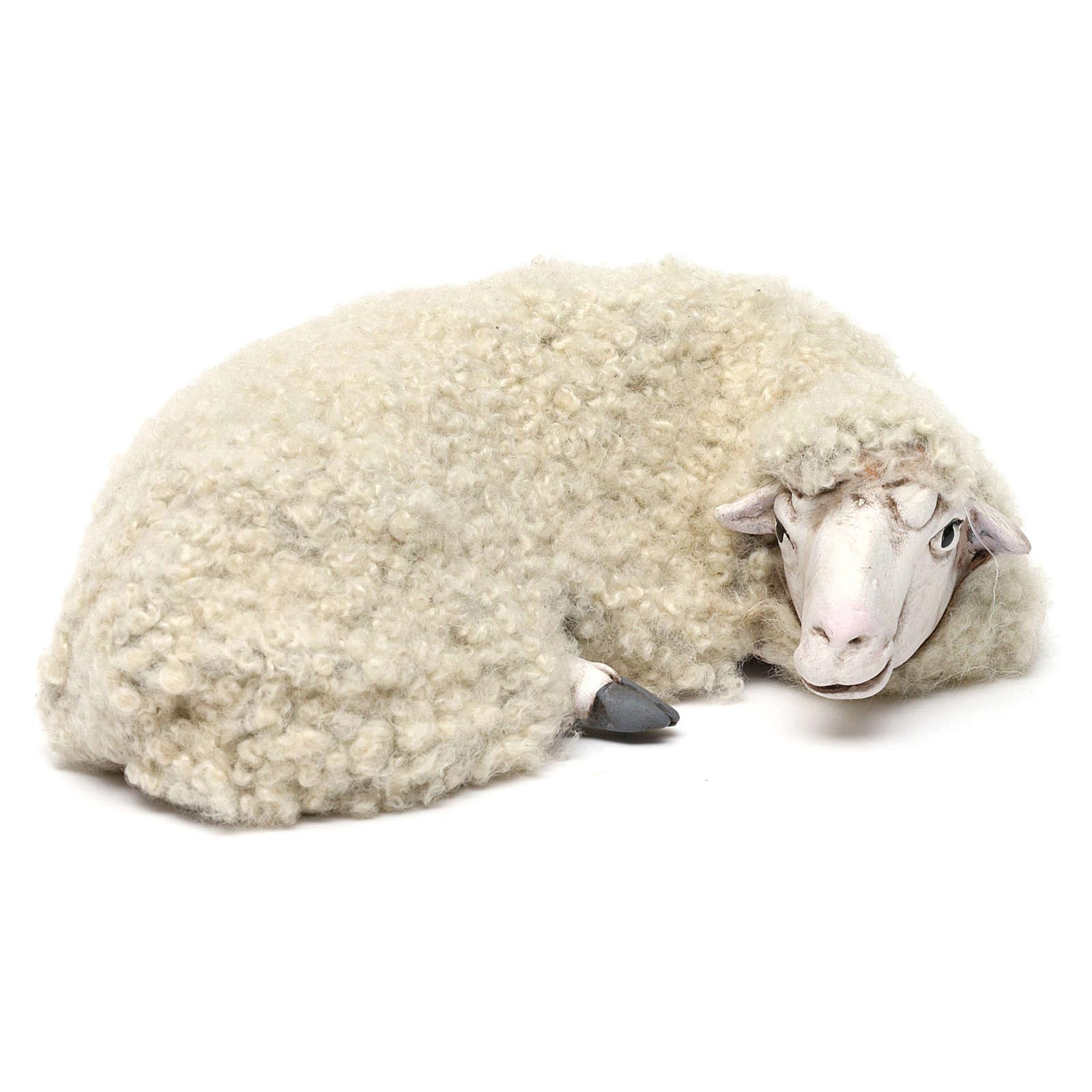 Pecora sdraiata con lana per presepe Napoli stile 700 di 35 cm 4