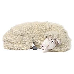 Pecora sdraiata con lana per presepe Napoli stile 700 di 35 cm s1