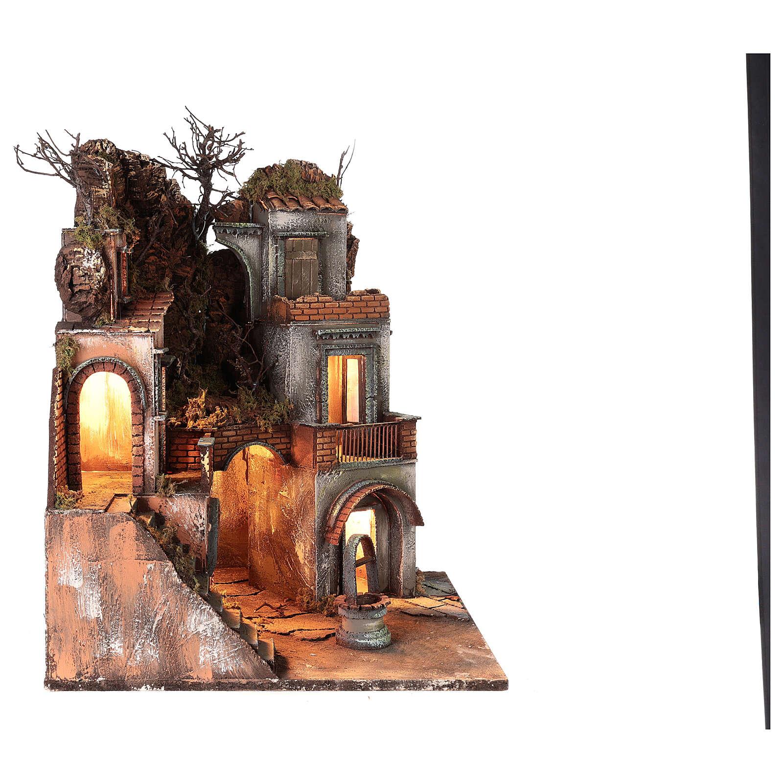 Neapolitan Nativity Scene setting farmhouse with well 60x50x50 cm 4