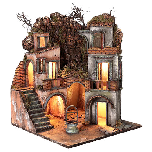 Neapolitan Nativity Scene setting farmhouse with well 60x50x50 cm 1