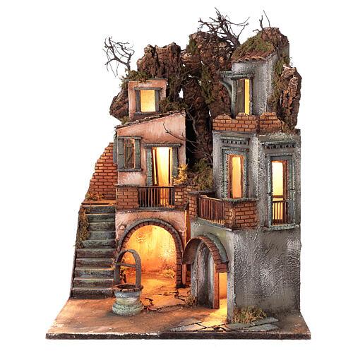 Neapolitan Nativity Scene setting farmhouse with well 60x50x50 cm 3