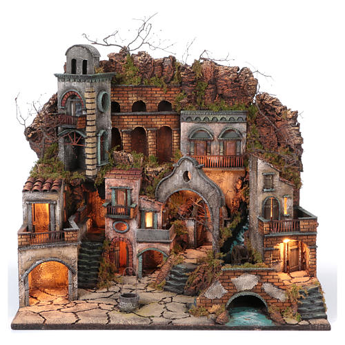 Old hamlet with waterfall and mill for Nativity Scene 70x80x60 18th-century Neapolitan style 1
