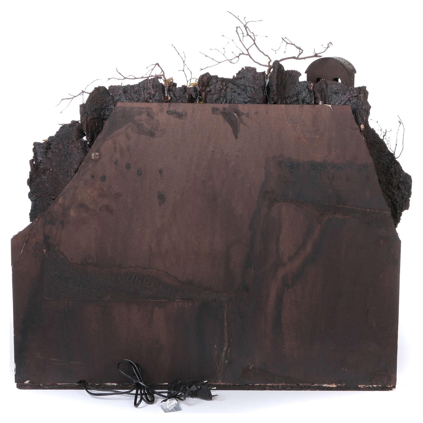 Aldea antigua con cascada y molino para belén 70x80x60 cm estilo napoletano 700 4