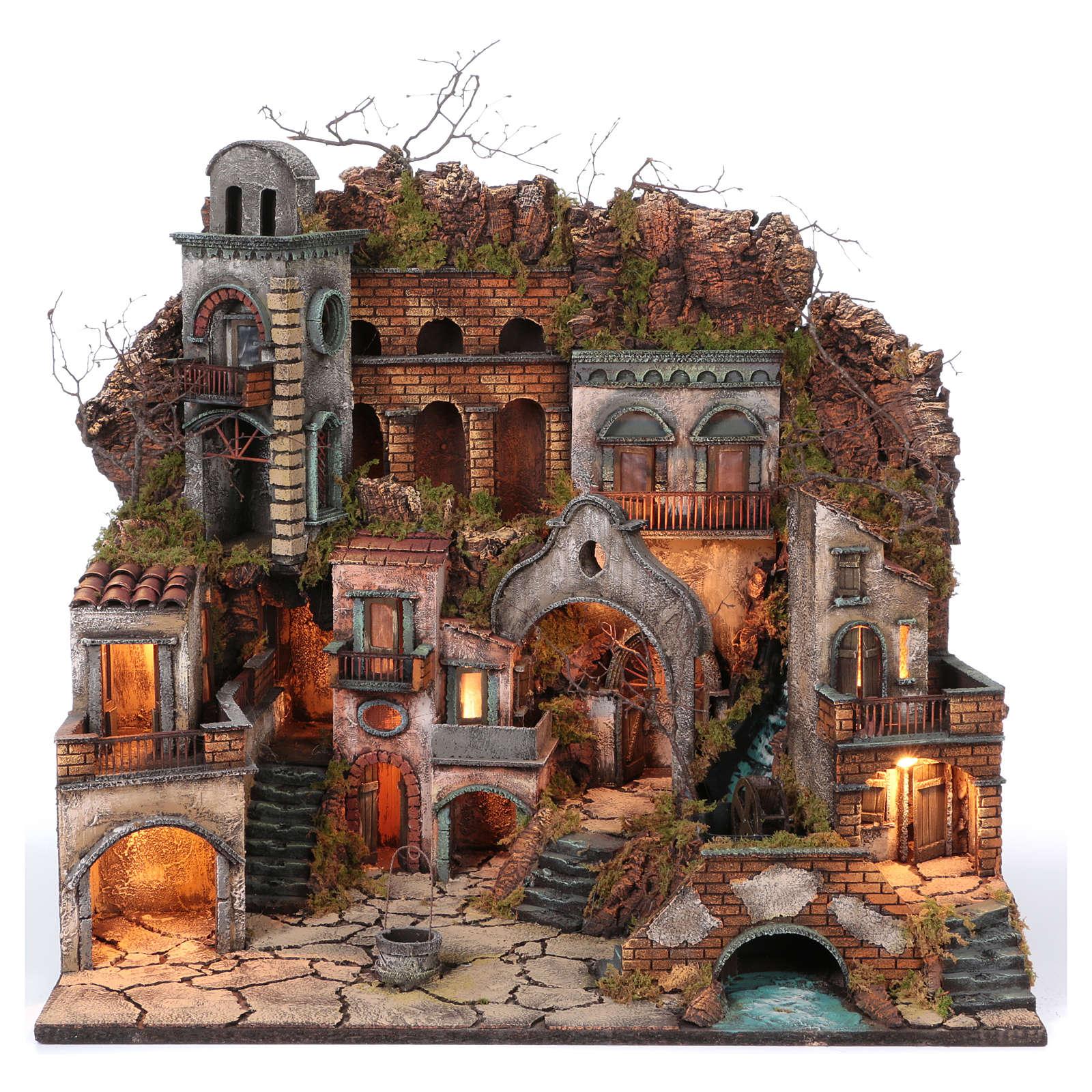 Village ancien avec chute d'eau et moulin pour crèche 70x80x60 cm style napolitain 700 4