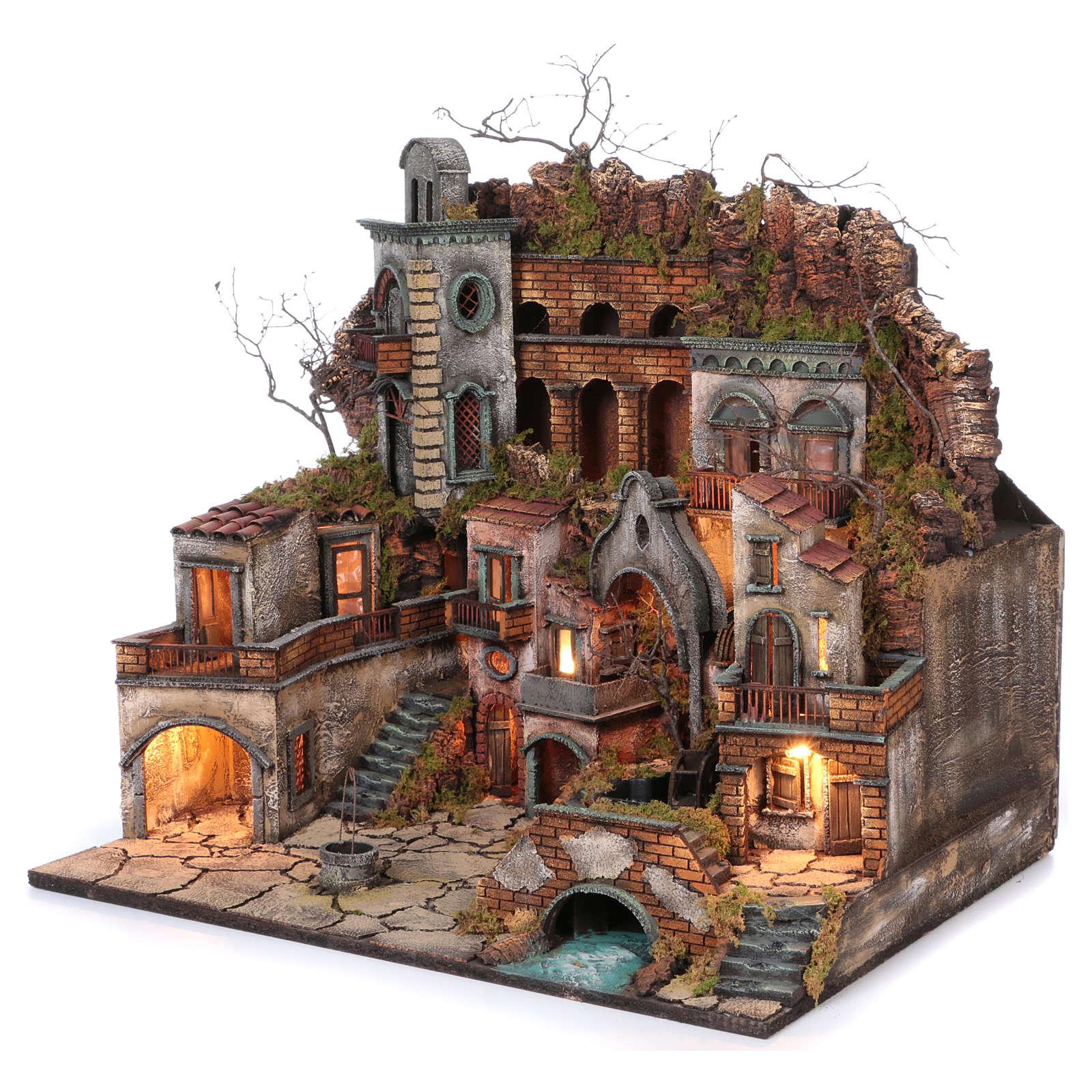Borgo antico con cascata e mulino per presepe 70x80x60 cm stile napoletano 700 4