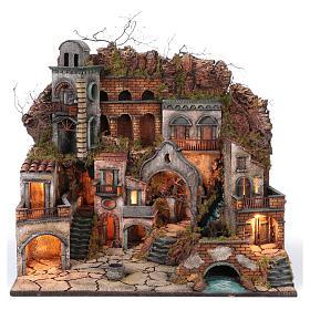 Borgo antico con cascata e mulino per presepe 70x80x60 cm stile napoletano 700 s1