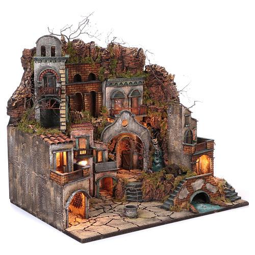 Borgo antico con cascata e mulino per presepe 70x80x60 cm stile napoletano 700 3