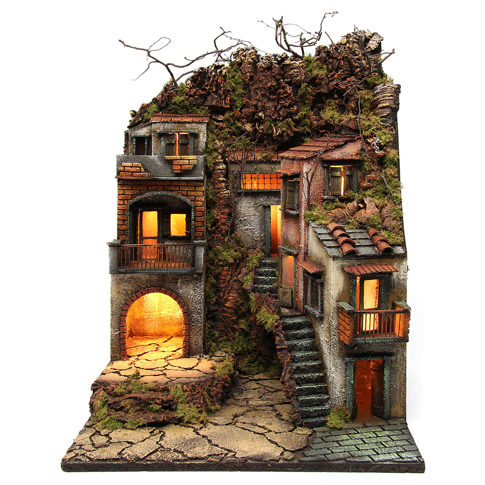Borgo con balconi e luci per presepe 65x50x50 cm stile napoletano 700 4