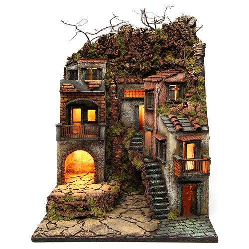 Borgo con balconi e luci per presepe 65x50x50 cm stile napoletano 700 1