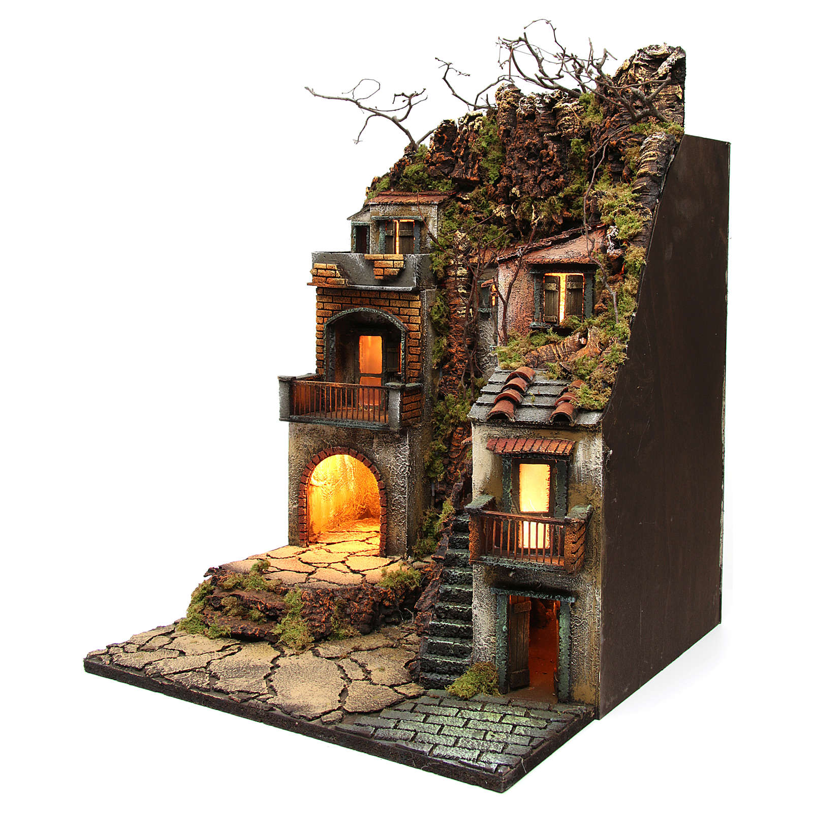 Bourg with balconies and lights for Nativity Scene 65x50x50 cm 4