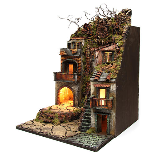 Bourg with balconies and lights for Nativity Scene 65x50x50 cm 2