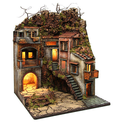 Bourg with balconies and lights for Nativity Scene 65x50x50 cm 3