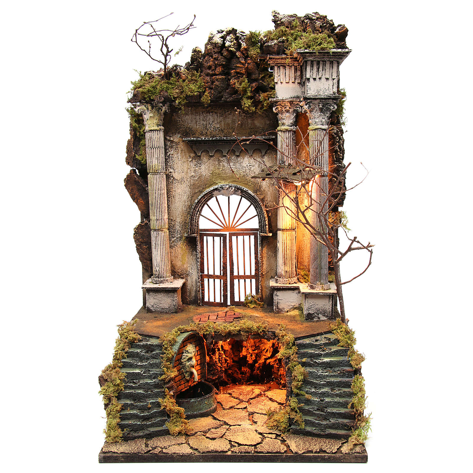 Neapolitan Nativity Scene setting palace entrance with fountain 70x40x40 cm 4
