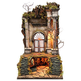 Neapolitan Nativity Scene setting palace entrance with fountain 70x40x40 cm s1