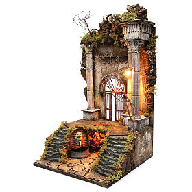 Neapolitan Nativity Scene setting palace entrance with fountain 70x40x40 cm s2