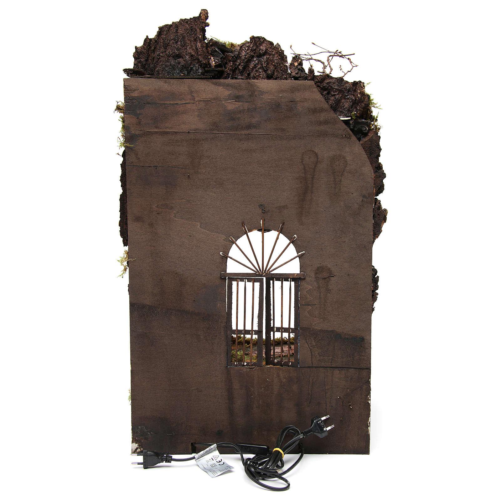 Ambientazione presepe napoletano ingresso palazzo con fontana 70x40x40 cm 4