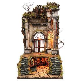 Ambientazione presepe napoletano ingresso palazzo con fontana 70x40x40 cm s1