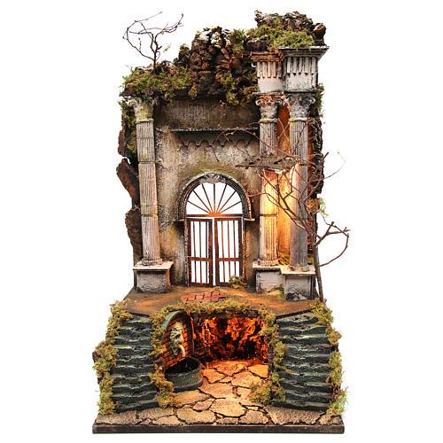 Ambientazione presepe napoletano ingresso palazzo con fontana 70x40x40 cm 1